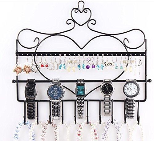 Home-Neat-Vintage-soporte-de-pared-forma-de-corazn-organizador-de-joyas-para-colgar-pendientes-collar-para-joyas-pantalla-soporte-Rack-negro
