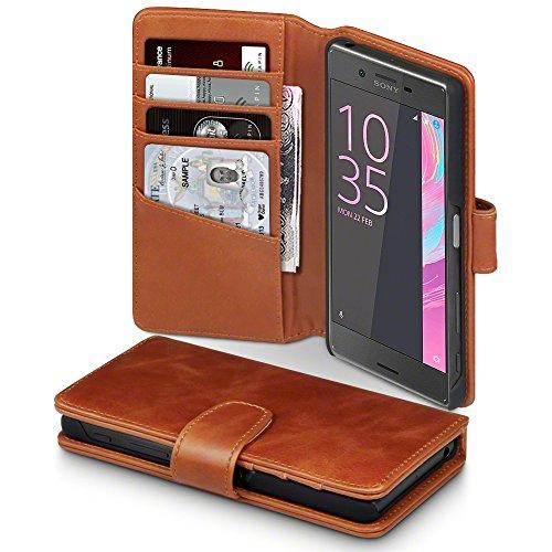 Sony Xperia X Case, Terrapin [ECHT LEDER] Brieftasche Case Hülle mit Kartenfächer und Bargeld für Sony Xperia X Hülle Cognac