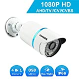 COSOOS 1080P 1920TVL Bullet Security Camera, 2.0 Megapixel Hybrid 4-in-1 HD-TVI/CVI/AHD/CVBS Waterproof Outdoor/Indoor Surveillance Camera, 3.6mm Lens 48 LED 130ft Night Vision, Metal Housing Silver