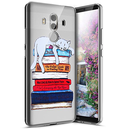 Surakey Compatible avec Coque Huawei Mate 10 Pro,Étui Huawei Mate 10 Pro Ultra Léger Transparent Silicone Gel TPU Souple Housse Étui Coque de Protection Bumper et Anti-Scratch, Chat