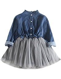 Saingace 2-7 Years Kids Little Baby Girl Denim Dress Birthday Gown Party  Wedding Dress af3ef7559