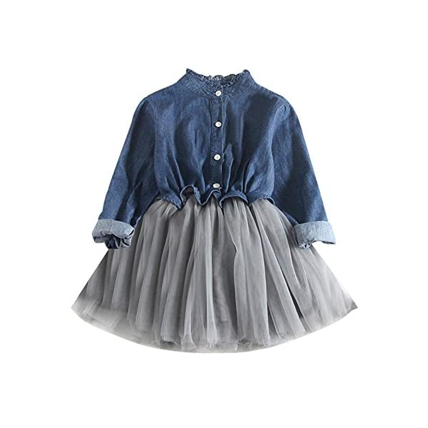 Saingace 2 7 Years Kids Little Baby Girl Denim Dress Birthday Gown Party Wedding
