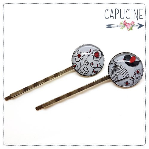 2 pinces bronze cabochons verre cage à oiseaux - pinces cheveux cage aux oiseaux - Barrettes cheveux illustrées - En Rouge & Noir