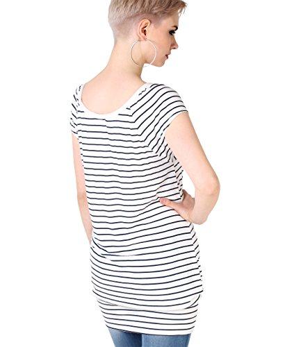 KRISP® Damen Basic Jersey Longshirt Cremeweiß/Marineblau (7487)