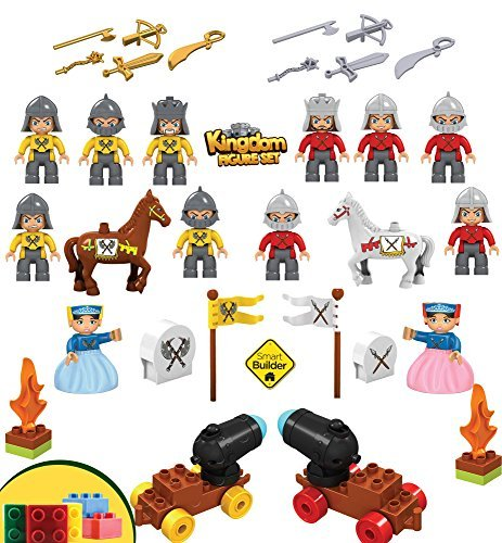 46-piece-Duplo-compatible-Kingdom-Figure-Set-Including-12-Figures-2-Horses-2-Cannons