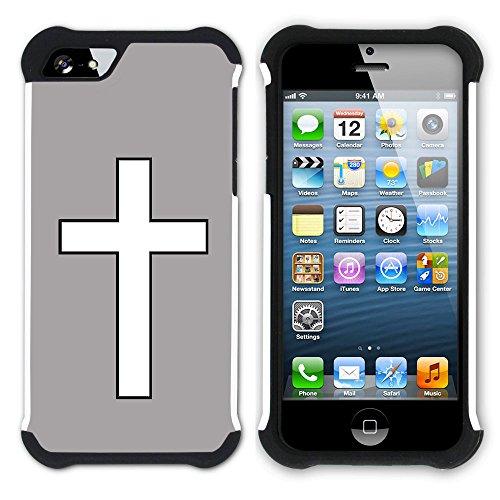 Graphic4You Kreuzr Design Hart + Weiche Kratzfeste Hülle Case Schale Tasche Schutzhülle für Apple iPhone SE / 5 / 5S (Aqua Blau) Grau