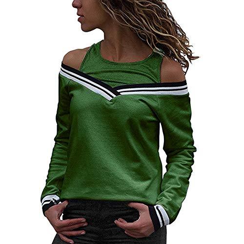 ng Sommer Top Bluse Bequem Lässig Mode Frauen Blusen kalte Schulter Patchwork Langarm Bluse Tops Sweatshirt(Grün, L) ()