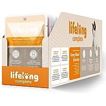 Marca Amazon - Lifelong Alimento completo para gatos adultos - Selección mixta en salsa, 9,6 kg (96 bolsitas x 100g)