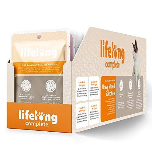 Marchio Amazon - Lifelong Alimento completo per gatti adulti- Selezione mista in salsa, 9,6 kg (96 sacchetti x 100g)