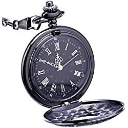 Mudder Steampunk Classic Roman Numerals Black Pocket Watch with Chain