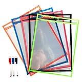 daptsy 10Dry Erase Taschen mit 3löschbare Marker wiederverwendbar Schreiben und Abwischen Taschen für Office und Lehre Supplies Kunststoff Tabelle Protectors (10× 33cm)