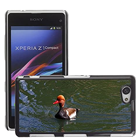 Just Phone Cover Hard plastica indietro Case Custodie Cover pelle protettiva Per // M00139732 Pochard Red Headed Pochard Canard // Sony Xperia Z1 Compact D5503