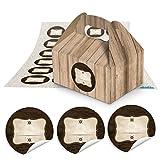 10 kleine Mini-Geschenkkarton Faltschachtel braun natur 9 x 12 x 6 cm ohne Griff + 24 runde Aufkleber Etikett braun mit Strich Ø 4 cm als Mitgebsel, Mitbringsel, Pralinenschachtel aus Pappkarton