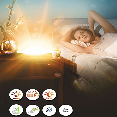 kalier lichtwecker wake up light nachttisch lampe sonnenaufgang wecker mit nat rlichen sounds. Black Bedroom Furniture Sets. Home Design Ideas