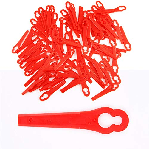 100X Plástico Cuchilla Desbrozadora (Elek trosense Cuchilla de repuesto plástico para cuchillas de cambio cortar para Einhell batería cortabordes recortador Rojo