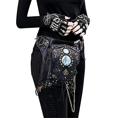 Tragbare Tasche Schwarze Gothic Rock PU Leder Steampunk Handtasche Hüfttasche Vintage Punk Schulter Messenger Bag Einfache Hüfttasche