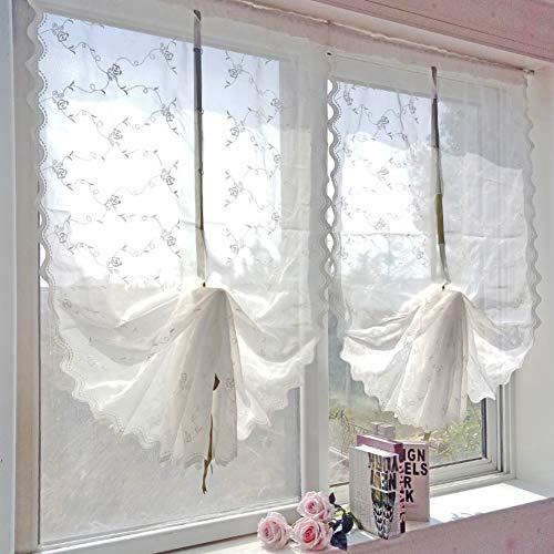 PP&DD Gardine aus Voile Vorhänge,Semi-transparent Weißes garn Gardine Voile Schiere Vorhang,Für Schlafzimmer Wohnzimmer Eine Scheibe-B 83x175cm(33x69inch) -