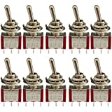 KINYOOO Mini Interruttore a levetta, 3 Pin 3 Position Mini Toggle Switch, AC 125V 6A / 250V 2A 3 Pin SPDT ON-Off-ON (Rosso, 10 Pezzi)
