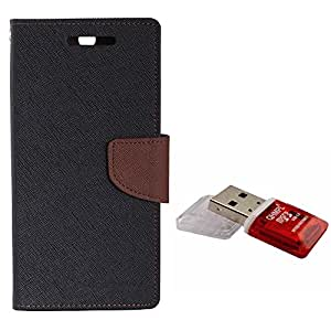 Avzax Diary Look Flip Case Cover For Xiaomi Redmi mi3 (Black) + Memory Card Reader