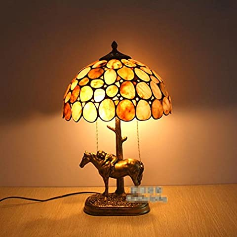 Tiffany-style table lamp/ European vintage horse lamp/Bedroom living room study