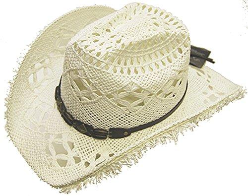 modestone-womens-cool-summery-straw-hat-straw-fringe-on-brim-white