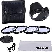 Neewer® 52mm Macro Close-up/ accesorio Kit de primeros planos profesional para Canon EOS 400D / Xti; D 450 / Xsi; 1000D / XS; 500D/T1i; 550D / T2i; 600D/T3i; 650D/T4i-700D/T5i; 100D;1100D; Nikon Sony Samsung Fujifilm Pentax y otras lentes de cámara réflex digital - incluye Set de primer plano Macro (+ 1, + 2, + 4, + 10) + filtro llevando bolsa + parasol flor del tulipán centro pizca tapa con tapa Keeper Correa + microfibra paño de limpieza