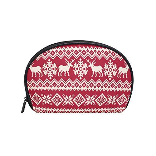 Kosmetiktasche mit Reißverschluss Kosmetiktasche Clutch Red Christmas Deer Reise Aufbewahrungstasche Tasche Platz für Frauen dame