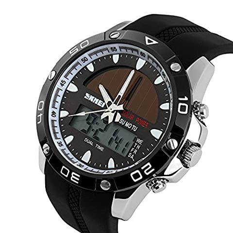 TTLIFE 1064 Mens Multifunctional Quartz Outdoor Solar Analog-Digital Display Sports Watch 50M Waterproof - Automatico Blu Mens Watch