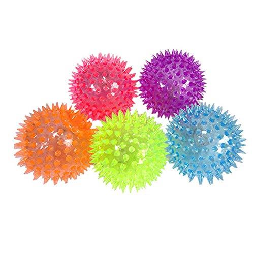 Gracorgzjs Schlag-Massage-Ball, tragbare LED blinkend Schlag-Spitze-Massage-Ball-Druck-Entlastung scherzt Haustier GOG-Spielzeug Zufällige Farbe
