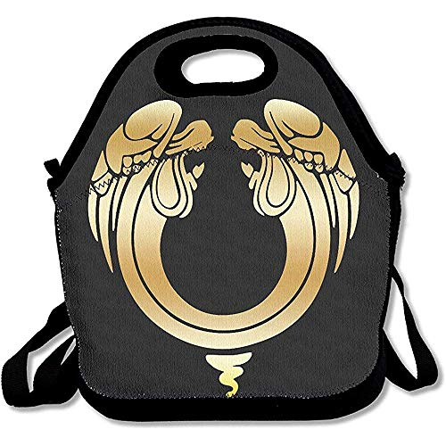Lanchesism Lunch Bag Box Jesus Christus Superstar Gold Logo Travel Tote Lunch Bag -