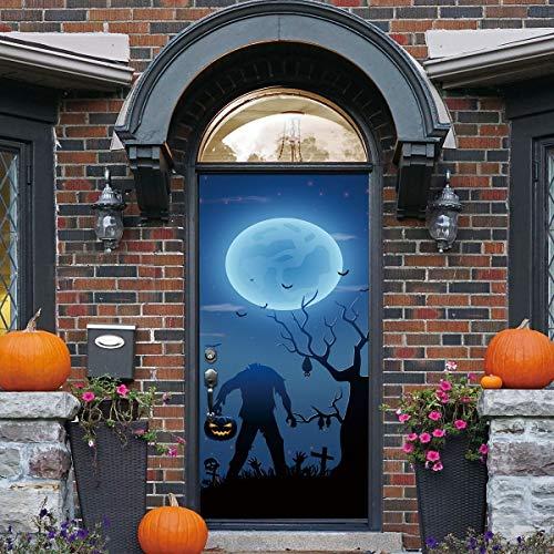 XIAOXINYUAN Kreative 3D Tür Aufkleber Terror Zombie Halloween Wallpaper Abnehmbare Selbstklebende Wandbilder Für Wand Aufkleber Home Decor (Halloween Zombies Wallpaper)