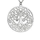 AKA Schmuck - 925 Sterling Silber Halskette mit Anhänger Lebensbaum und Swarovski Kristalle, Mod. Vergangenheit Gegenwart und Zukunft, Frau und Mama Geschenk