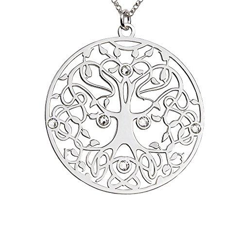 AKA Gioielli - Collana Argento 925 con Ciondolo Albero della Vita e Cristalli Swarovski, Mod. Passato Presente e Futuro, Regalo...