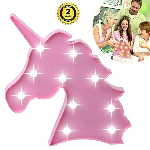 Lámparas decorativas, Atump Decoración Iluminación Lámpara de mesa de luz LED Iluminación de Navidad Decoración de fiesta Lámpara de la habitación de los niños (Pink Unicorn Head)