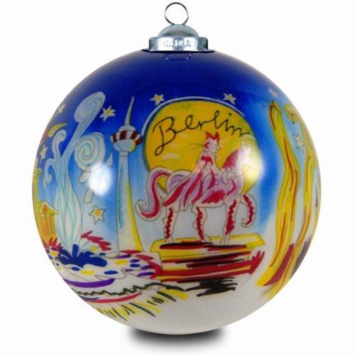 SIKORA INNENGLASMALEREI Weihnachtskugel Glaskugel Motiv BERLIN - D:7,5cm