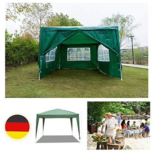 Huini 3x4m Pavillon Zelt Markise für Party Outdoor Hochzeit Event Shelter Multifunktions wasserdichte PE Pavillon 120g Camping BBQ Picknick Sonnenschutz Pavillon Einfache Installation - grün