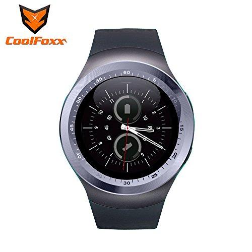 Reloj inteligente, CoolFoxx Y1 Bluetooth 3.0 Inteligente Tarjeta Micro SIM reloj de pulsera con pantalla táctil, podómetro, monitoreo de sueño, mensaje, calendario, llamada y recordatorio sedentario para iPhone, Samsung, Android, Motorola, LG, HTC (plata)