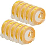 10er Pack weiß auf glänzend gelb 9mm x 3m Prägeetiketten (selbstklebend, kunststoff) kompatibel für Dymo Omega und Junior Etikettenprägegerät