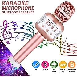 Micrófono Inalámbrico Bluetooth, Leeron Micrófono Portátil Karaoke con Altavoz, Compatible con iPad iPhone Smartphone Android PC AUX, Batería Larga Duración (Oro Rosado)
