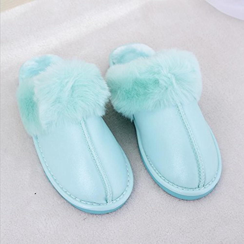 mhgao Ladies Casual Otoño Invierno Felpa Zapatillas de algodón cálido zapatillas de piel sintética, verde, 36