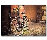 Quadri L&C ITALIA Bici Vintage Retro 3 | Quadro Moderno Made in Italy Stampa su Tela Canvas 70 x 50 cm | Arredamento Soggiorno, Camera, Bagno | Decorazioni Shabby Chic Appendere Fiori Bicicletta