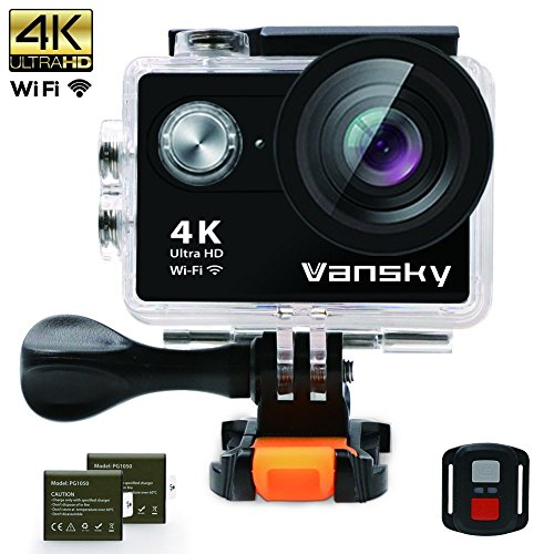 Sport-Action-Kamera, Vansky Action Kamera Wifi Sports Cam 4K Camera 20MP Ultra Full HD Unterwasserkamera Helmkamera Wasserdicht mit 2 Verbesserten Batterien Transporttasche und Kostenlose Accessoires