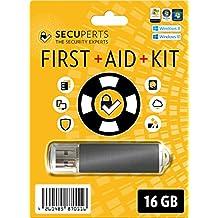 SecuPerts First Aid Kit - Erste Hilfe Paket für Windows - Datenrettung und Virenscanner - 16GB USB3.0-Stick
