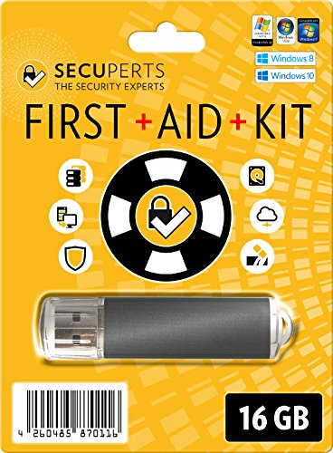 SecuPerts First Aid Kit - Erste Hilfe Paket für Windows - Datenrettung und Virenscanner - 16GB USB3.0-Stick (Home-aids)