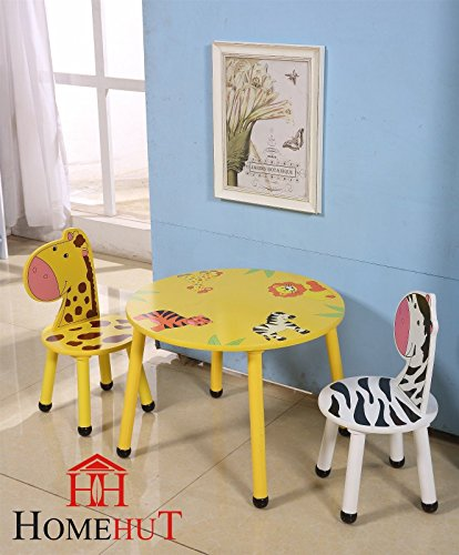 HOME HUT Conjunto de Mesa y sillas de Madera para niños, diseño de Animales de la Selva, Regalo