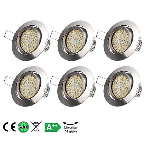 LED Einbaustrahler 3.5W Ultra Flach Einbauspot Warmweiß Edelstahl Optik Einbauleuchte IP20 Deckenstrahler,230V,120° Abstrahlwinkel(6 Pack)