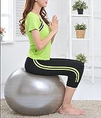 TQWMU Multi-Function Gym Fitness Aerobics Gym Yoga Ball with Pump (Multicolour)