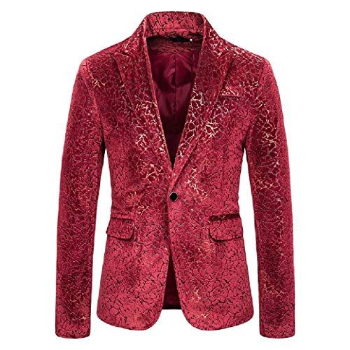 Energy Mens Gilded Evening Club 1 Button Notch Collar Motion Blazer Red XS -