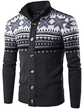 Casual Manga Larga Cárdigans para Hombre, Honghu Ocio Largo Botones Sweater Outwear Gris oscuro M