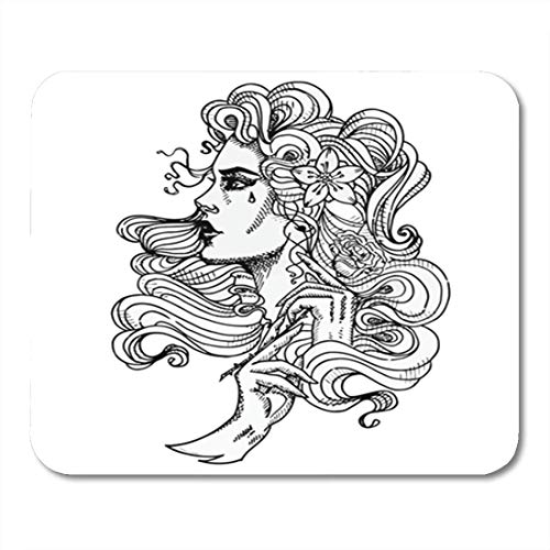 Gaming Mauspad Tattoo on White Cool Retro Styled Girl with Rose in Hands Lady Female Sketch 11.8